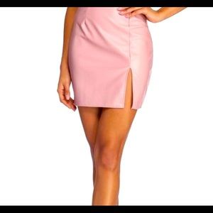 Baby pink faux leather skirt!